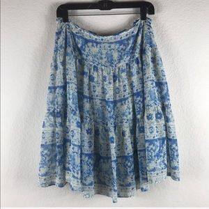 Chap Blue White Floral Print Lined Skirt Size 8
